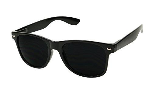ShadyVEU - Extremely Super Dark Classic 80's Shades Migraine Sensitive Eyes Sunglasses (Glossy Black ()