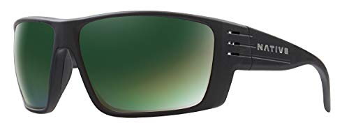 Native Eyewear Griz Polarized Sunglasses, Matte Black Frame/Green Reflex ()