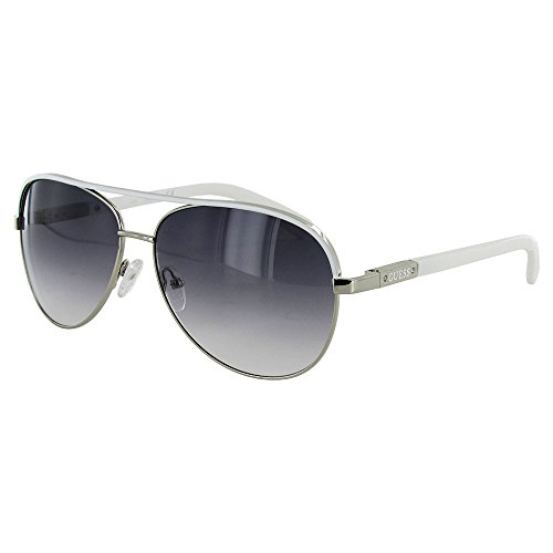 Guess Womens GUF224 Aviator Wire Rim Fashion Sunglasses, Silver/Smoke (Sunglasses For Men By Guess)