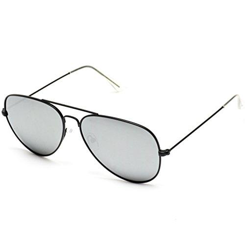 lente Gafas nbsp;estilo Plateado prémium Marco sol clásicas con modernas Negro de Pro WearMe Espejo diseño polarizada y de Lente aviador Rq18A