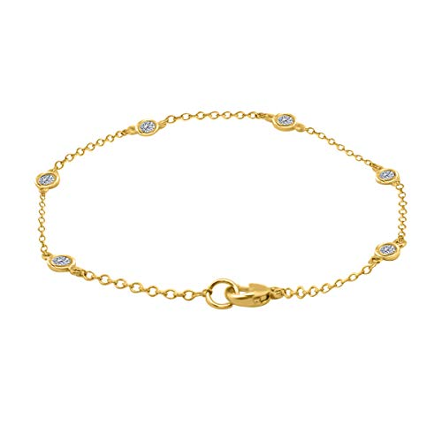 (0.25 Carat Genuine Diamond On The Chain Bracelet In 14K Rose, White & Yellow Gold )