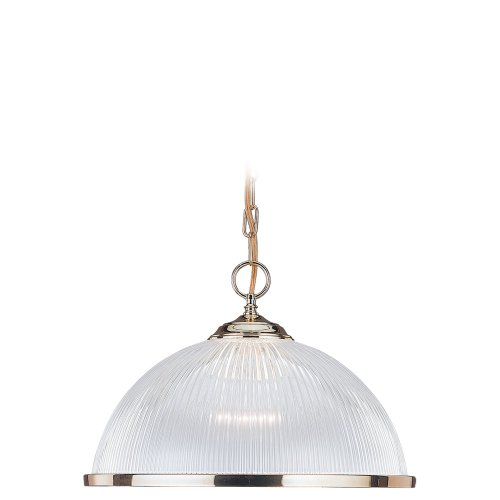 Sea Gull Lighting 6641-02 Single-Light Pendant, Clear Prismatic Acrylic Bowl and Polished Brass (Pendant Medium Polished Brass Bowl)