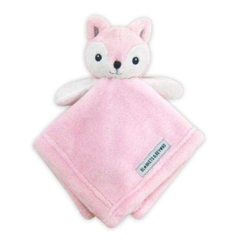 Ultra Plush Personalized Adorable Lovey | Embroidered Cuddly Stuffed Fox Baby Extra Soft Nunu Security Blanket | Gifts with Designer Look & Quality Material, 15x15 Inch (Baby Pink), Boy or Girl
