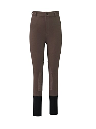 (TuffRider Children's Basic LowRise Pull-On Knee Patch Breeches | Horse Riding Equestrian Pants | Color - LAWA BROWN | Size - 8)
