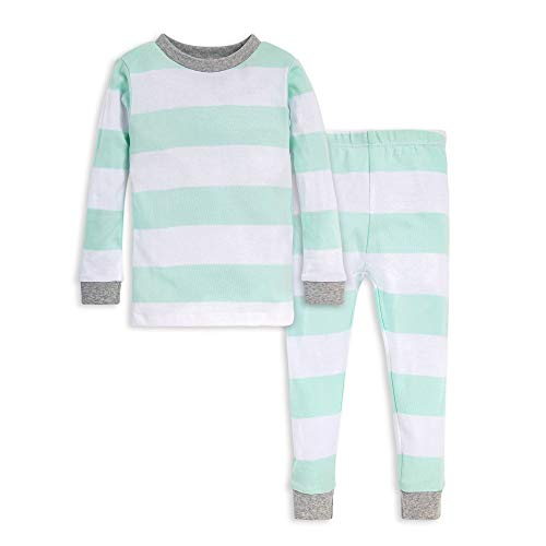 Burt's Bees Baby Unisex Baby Pajamas, Tee and Pant 2-Piece PJ Set, 100% Organic Cotton, Green Rugby Stripe, 5 Years