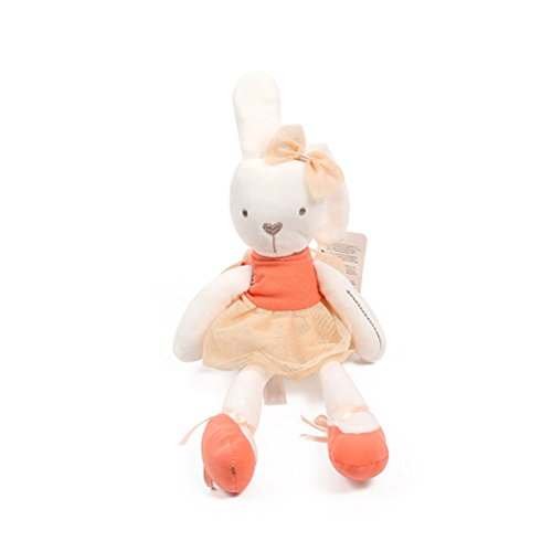 Aosbos Bunny Doll Baby Toys Ballerina Rabbit Children Playmate Stuffed Animal Soft Dolls Birthday Gift (Orange Soft Bear)