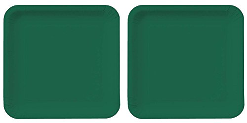 (Creative Converting Touch of Color 18 Count Square Paper Lunch Plates, Hunter Green (2 pack))
