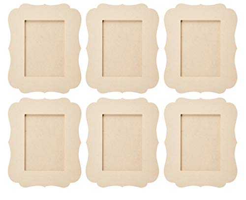 Unfinished Wood Frame - 6-Pack Wooden Picture Frame, Victorian Picture Frame, for Desk Table Top, Home, Office, All Occasions Decoration, DIY Craft Projects, Holds 5 x 7 Photo, 8.6 x 10 x 7.5 Inches -