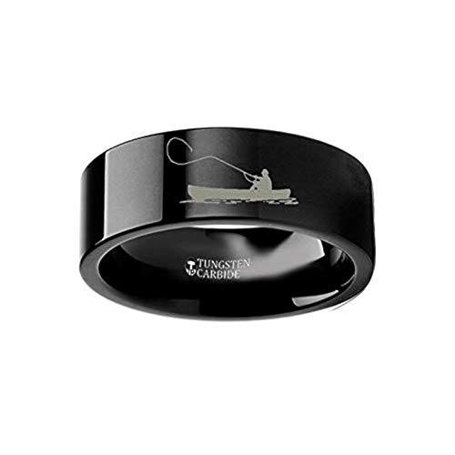 Hunting Landscape Scene Fishing Boat Fishermen Fish Ring Engraved Flat Black Tungsten Ring - 4mm - 12mm