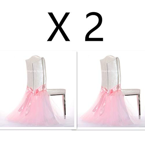Originals Group Tulle Chair Tutu Skirt with Sash Bow for Wedding, Party Supplies Decor (2, Baby Pink)