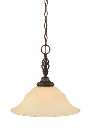 - Toltec Lighting 82-DG-53613 Elegante One-Light Pendant Dark Granite Finish with Amber Marble Glass Shade, 16-Inch