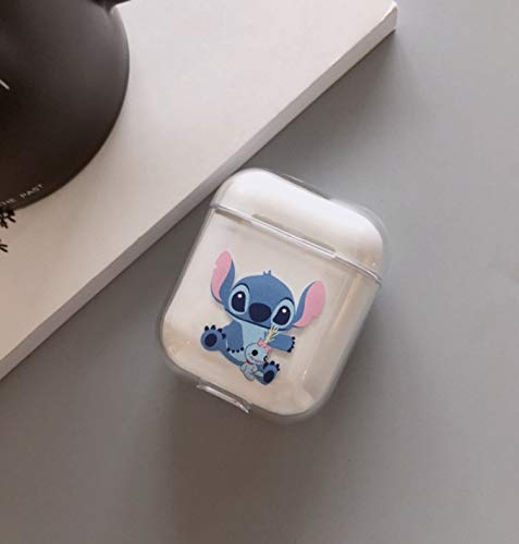 Apple AirPods Clear Case, Cute Cartoon Clear Plastic Shockproof Protective Case Cover Skin for 1 & 2 Generations (Stitch)