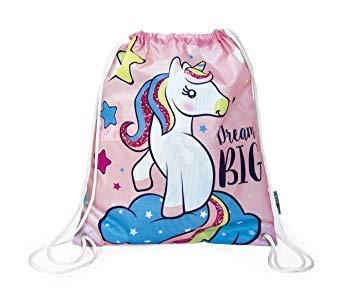 Bolsa con Cuerdas Unicornio para niña Escolar Color Rosa Playa Piscina