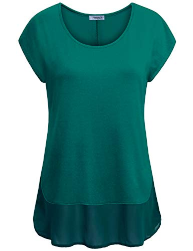 Vindery Short Sleeve Tunic Tops for Leggings for Women, Green Ladies Tops Summer Casual Blouses Misses Patchwork Shirt Modlily Tops Stylish Batwing Shirttail Layered Tunic Tshirt Relaxed Fit Tees L