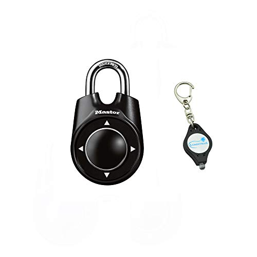 (Master Lock 1500ID Padlock, Set Your Own Speed Dial Combination Lock, 2-1/8 in. Wide, Assorted Colors Bundle with Lumintrail Key Chain Light)
