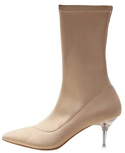 Maclin J 224-1 Women's Stretchy Sock Ankle High Boots (7, Nude) (Stretch Nylon Heels)