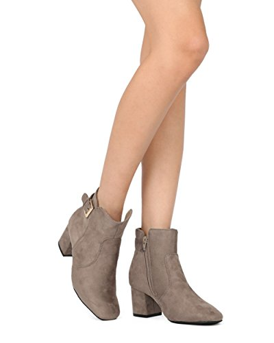 Alrisco Women Buckled Chunky Block Heel Riding Boot Bootie - Casual Dressy Versatile Everyday Costume Cosplay - HE88 by Refresh Collection Taupe Faux Suede UdNwfcaLyf