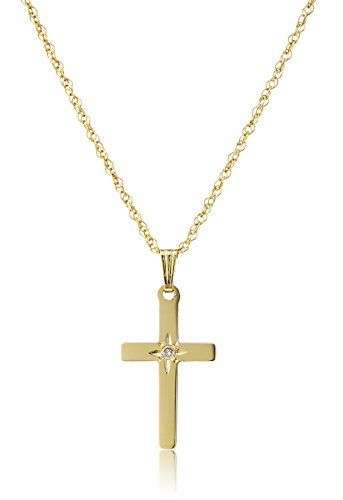 14k Yellow Gold Solid Diamond-Accented Cross Pendant Necklace, 18