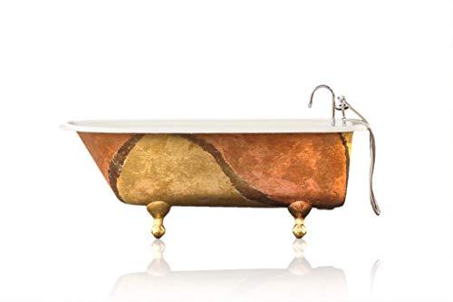 - Artisan Gilded Antique Refinished 5' Clawfoot Bathtub Warm Metallic Cast Iron Claw Tub Package