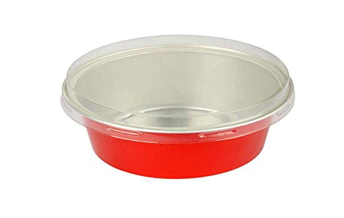 KitchenDance Disposable Aluminum Colored 5 Ounce Baking Cups #A41- Pack of 100 (Red, with Flat Lids)