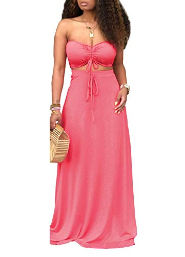 Ophestin Women Sexy Tube Ruched Tie Crop Top Long Skirt Summer Bodycon 2 Piece Outfits Maxi Dress Set Red M
