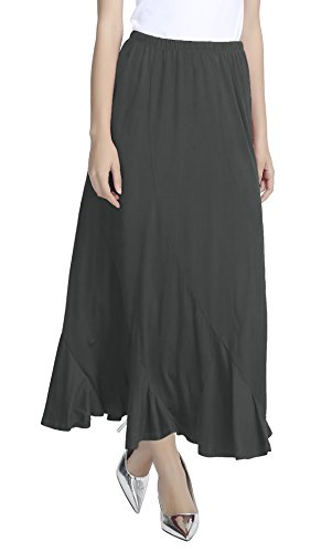 Urban Jupe Jupe Taille ligne Fonc lgant A Gris Longue GoCo Pliss Femmes Trapze Maxi Elastique r0UBqrw7x