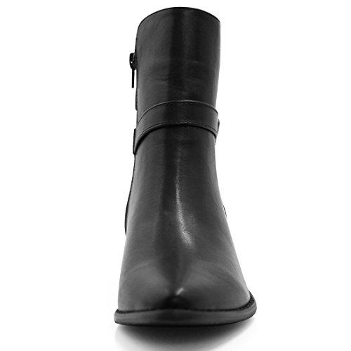 da1a26b850ed new Allegra K Women Pointed Toe Buckled Strap Zipper Ankle Boots ...