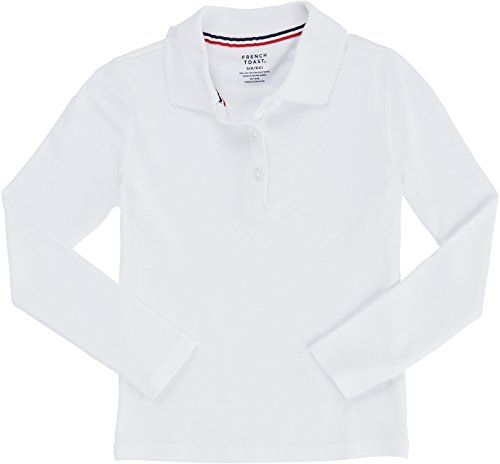 [French Toast School Uniform Girls Long Sleeve Polo Interlock with Picot Collar, White, Small (6/6X)] (French Toast Long Sleeve Polo Shirt)
