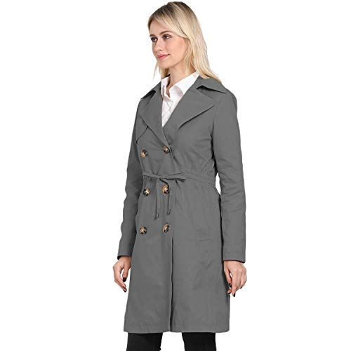 KENGURU COVE Women's Double Breasted Mid-Length Trench Coat Classic Overcoat(Gray,XXL)