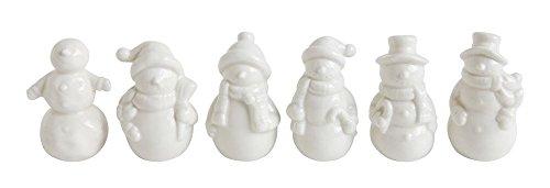Winter Ceramic Snowmen Figurines - Set of 6 (Set Snowmen Figurine)