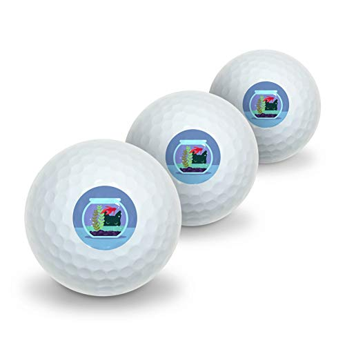 GRAPHICS & MORE Black Cat Staring at Betta Fish Bowl Novelty Golf Balls 3 Pack