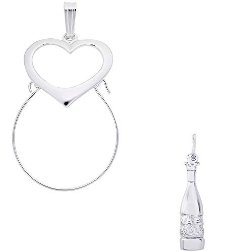 (Rembrandt Charms Napa Valley Wine Bottle Charm on a Rembrandt Charms Heart Charm)