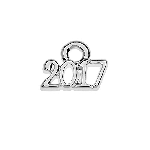 1 Silver Plated Charm (Silver Plated Lightweight Charm, Mini Year 2017 6.2x8.5mm, 1 Piece, Silver)