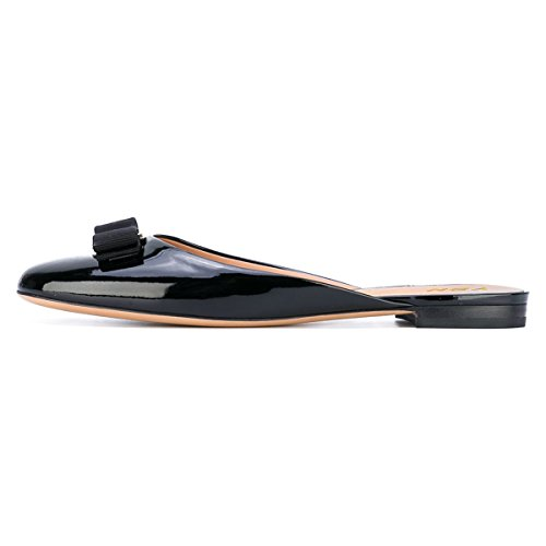 YDN Bowknot Low Round Shoes Heel Flats Women Black Slip on Slide Toe Clog Slippers Summer rqZgrn8p