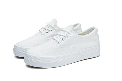 Fondo Lona Ocio NVXIE Estudiantes Zapatos Negro Movimiento Grueso clásicos Cómodo Mujer Blancos Blanco Diario de white Zapatos Pequeños Zapatos de xwXrX704q