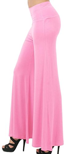 Womens Comfy Chic Boho Palazzo Gaucho Lounge Pant (Pink) - 4