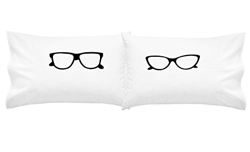 Oh, Susannah Glasses Pillow Cases His and Her Geek Gifts for Couples Cat Eye Glasses Matching Pillow Cases (Two 20x30 Standard/Queen Size Pillowcases) Girlfriend Gifts