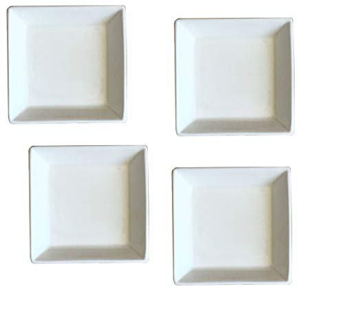- Set of 4 - Simple Plain Small Square White Porcelain Ceramic Dish Plate for Tapas Appetizers Sushi Condiment Sauce Dessert Snack Nuts Candy Chocolate Cheese ServingPlate 3.5