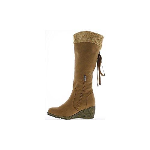 Bottes femme camel à talon compensé de 7cm et lacet