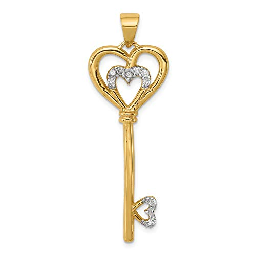 925 Sterling Silver Vermeil Cubic Zirconia Cz Heart Within Key Pendant Charm Necklace Love With Fine Jewelry Gifts For Women For Her ()
