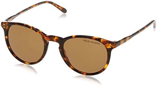 Polo Ralph Lauren Men's 0ph4110 Polarized Wayfarer Sunglasses, Shiny Antique Havana, 50 ()