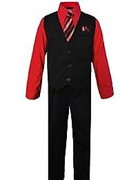 Black n Bianco Boys Pinstripe Dress Suit, with Vest, Shirt, Tie and Pants Set