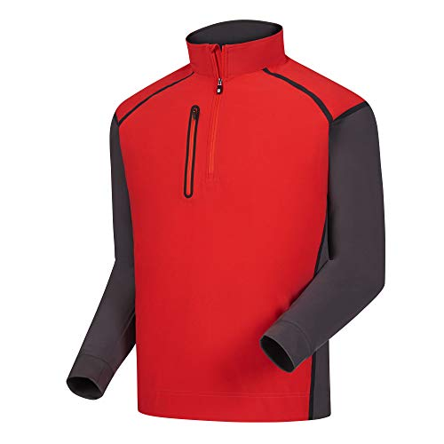 (FootJoy Men's WindTech Golf Pullover (M, Red/Charcoal/Black))