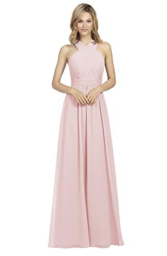 - A-line V Neck Pleated Chiffon Blush Pink Bridesmaid Dress Long with Criss-Cross Evening Formal Party Gown Size 10