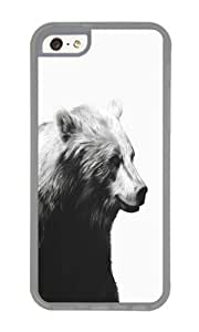 linJUN FENGApple Iphone 5C Case,WENJORS Unique Bear Calm Sketch Soft Case Protective Shell Cell Phone Cover For Apple Iphone 5C - TPU Transparent