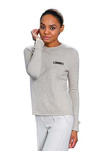 Goyo Cashmere Women's 100% Pure Cashmere Sweater - Long Sleeve Round Neck Pullover (Vanilla Cream, - Round Neck Cashmere Sweater