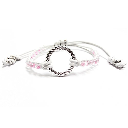 White Leather Pink Seed Bead Silver Plated Infinity Circle Friendship ()