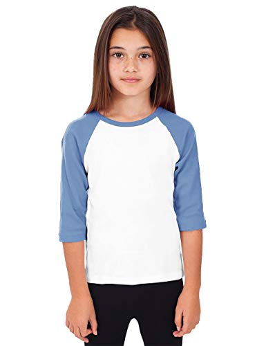 Hat and Beyond Kids Raglan Jersey Child Toddler Youth Uniforms 3/4 Sleeves T Shirts (Small (4-5 Year) (Baby) 5bh03_White/Carolina Blue) ()