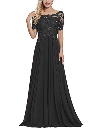 Women Long Lace Applique Mother of The Bride Dress with Sleeves Bateau Neck Maxi Formal Evening Dresses Black (Lace Sleeves Applique)