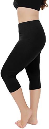 Women's Capri Leggings 3/4 Length Comfortable Modal Legging(Plus Size Available)